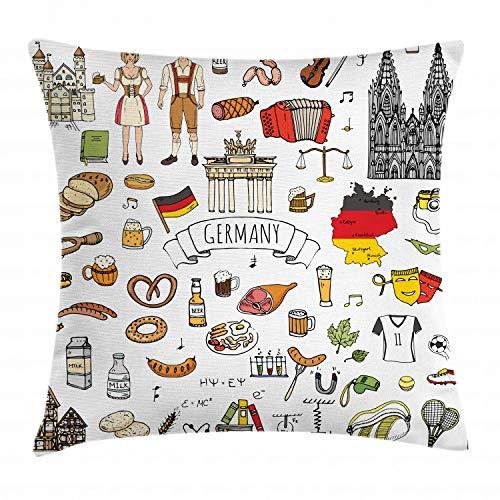 ABAKUHAUS Alemán Funda para Almohada, Dibujo a Mano Íconos de Cultura Alemana Camiseta de Fútbol Comida Ciencia Música, Estampa Digital Nítida en Ambos Lados, 60 x 60 cm, Multicolor