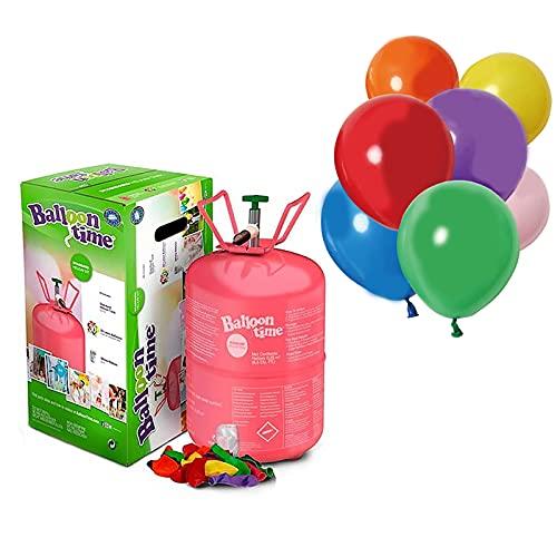Helio para Globos con Globos Incluidos [1 Bombona Helio para 30 globos Aprox + 12 globos de látex de 28 cm en Colores]