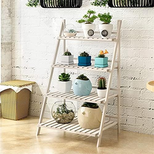 Plantenstandaard van hout, opvouwbaar, 4 niveaus, bloemenstandaard, binnenranden, retro, multifunctioneel, voor tuin / binnen / buiten / balkon bloemenrek 001 (kleur: mijn