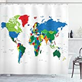 ABAKUHAUS Weltkarte Duschvorhang, Bunte Politische, Personenspezifisch Druck inkl.12 Haken Farbfest Dekorative mit Klaren Farben, 175 x 180 cm, Multicolor