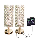 Pack of 2 Surpars House Crystal Table Lamp with Double USB Charging Port, On/Off Switch on...
