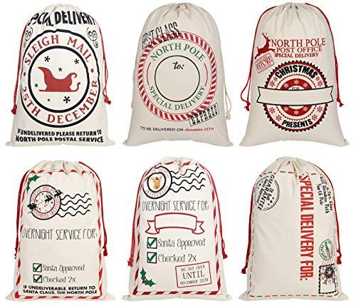 Faylapa bolsas grandes de Papá Noel, calcetín de lona con cordones, diseños reutilizables, bolsa de regalo de Navidad de 19.7 x 27.5...