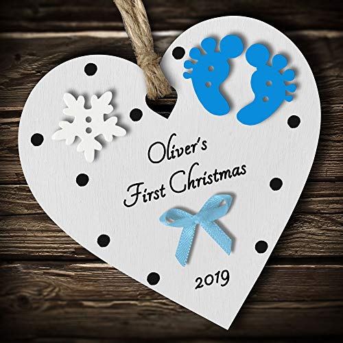 Multi-Colour Personalised Baby's First 1st Christmas Bauble tree decoration wooden heart hanging ornament keepsake gift for boy or girl (White #3)