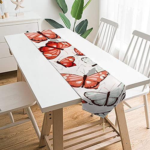 YLB 90' x 13' Table Runners, White And Orange Dream Butterfly, Table Decoration for Wedding, Table Linen Layout, Decorations Outdoor Picnics Dining Table (Size : 79' x 13')