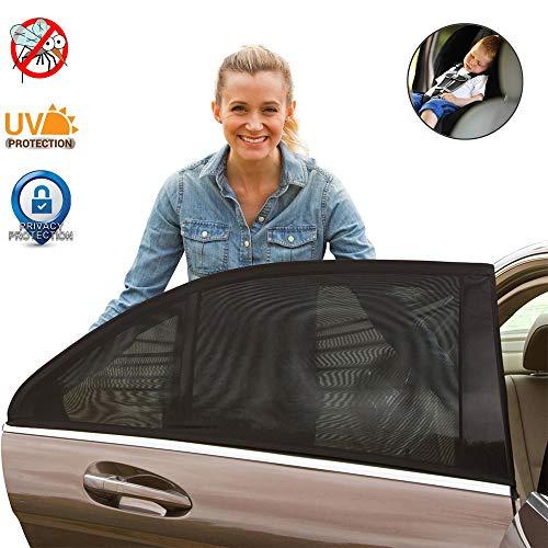 LifeUp Abat-jour de voiture, Pare-soleil pour lunette arrière côté voiture - 2 pack Parasol de voiture - UV Et Moustique Protection pour votre bébé Animaux domestiques - pour une voiture plus froide, ajustement universel (M)