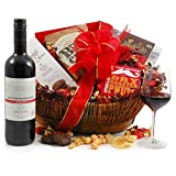 Red Wine Hamper Gift Basket - Medal Winning Merlot with Sweet and Savoury Treats - Hamper Gift for Family, Friends & Colleagues