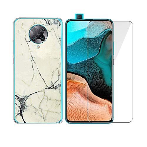 """PZEMIN Custodia per Xiaomi Redmi K30 PRO Cover Caso Silicone Trasparente TPU Bumper Leggero Morbido Shell Case + Film di Vetro Temperato per Xiaomi Redmi K30 PRO Pellicola Protettiva (6.67"""") -WM62"""