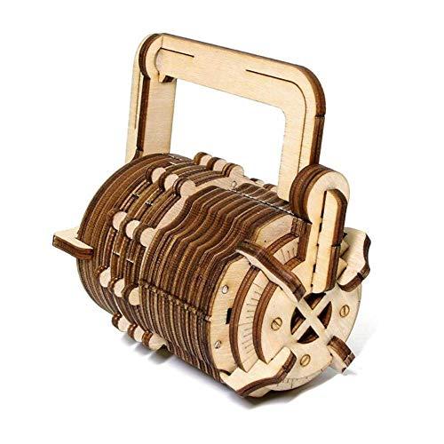 YISHUAI Manuelles Mechanisches Getriebe Holzmodell da Vinci Codeschloss DIY Kreatives Geburtstagsgeschenk, Holzfarbe, 13 * 13 * 16 cm