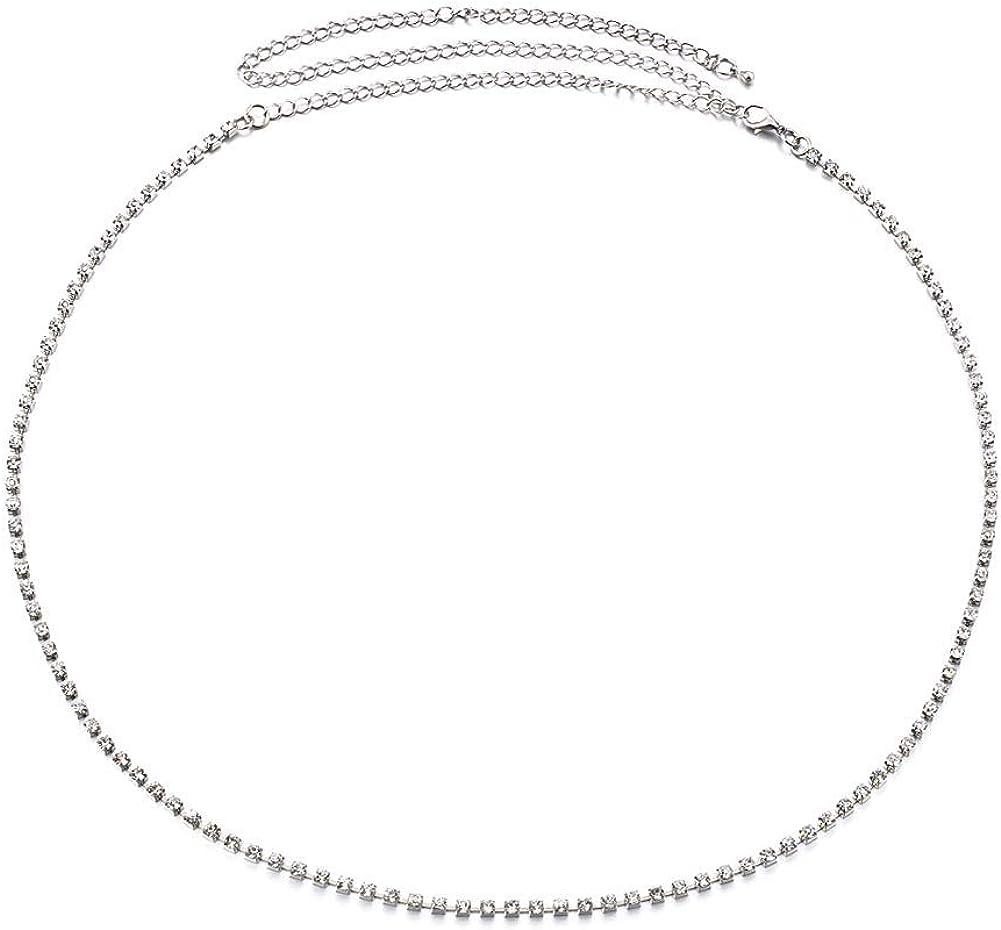 Women'S Rhinestone Waist Chain Sexy Adjustable Waist Chain Belt Body Belly Chain With Three Drainage Drill For Girls