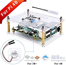 GeeekPi Acrylic Case for Raspberry Pi 4 Model B & Raspberry pi 3 Model B+, Raspberry Pi Case with Cooling Fan and 7PCS Heatsinks for Raspberry Pi 3/2 Model B/B+ (Clear)