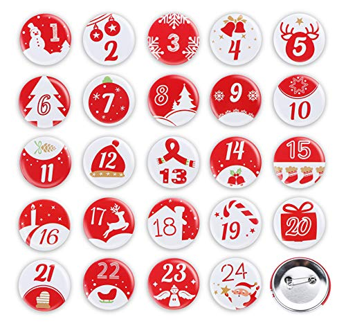 Adorfine 24 Adventskalender Zahlen Buttons Ø4cm Weihnachten Kalender Buttons mit Anstecknadel 1 bis 24 Zahlen zum Anstecken an Jutesäckchen oder Geschenktüten für Basteln von DIY-Weihnachts-Kalendern