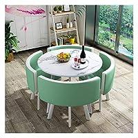 耐久性のあるテーブルと椅子のセット ダイニングテーブルと椅子コンビネーションモダンデザインレジャー表80センチメートルの大理石円卓のシンプルなスタイルホームバルコニーリビングルーム DYYD (Color : Light Green)