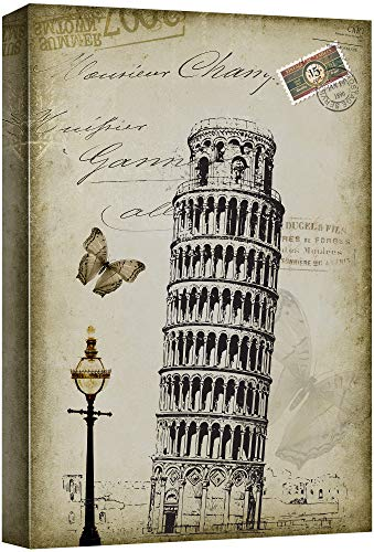 wall26 - Beautiful Drawing of of The Leaning Tower of Pisa Placed onto a Vintage Style Background - Canvas Art Home Decor - 16x24 inches