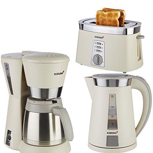 Frühstücksserie im trendigen sandgrau/ Edelstahl Design Thermo 3 Geräte=1Preis!!