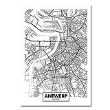 TeriliziSchwarz Weiß Antwerpen Stadtplan Leinwand Poster
