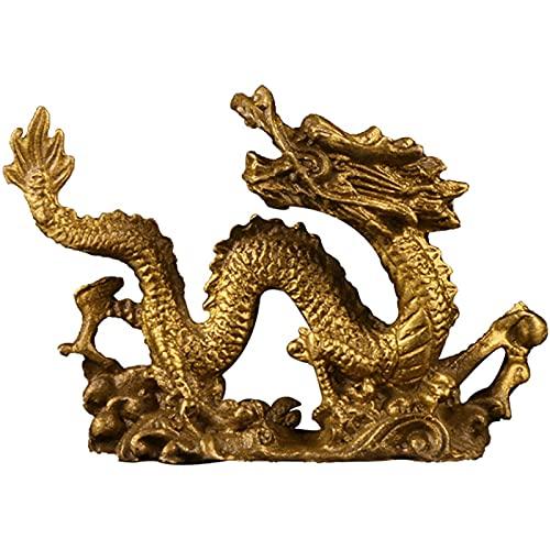 XDYFF Dragon Feng Shui Estatua Figura de Latón, Animal Escultura Decoración De Oficina En Casa, Adornos para Riqueza Y Éxito Regalos,Latón