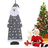 Calendario de Adviento de Papá Noel, Calendario de Cuenta Regresiva Colgar en la Pared con 24 Bolsillos, para Habitaciones de Decoración, Árbol de Navidad, Puerta Repisa de Chimenea o Escaparate(Gris)