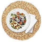 LDGR Rotonda Woven Rattan Stuoia di Tabella del Rattan Tovagliette Tavolo Stuoia di Acqua Zucca Placemat Rilievo Rotondo Tavolo Sottopiatto di Paglia Cup Coaster