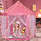 Volscity Princess Tent for Girls,Kids Castle Play Tent with LED Star Lights,Large Playhouse Girl Toy Gifts Age 3+,Indoor and Outdoor Games 55.5'x 53'(DxH) Pink