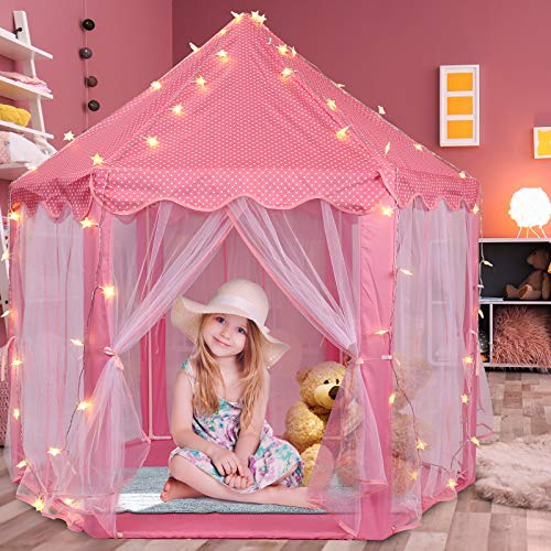 """Volscity Princess Tent for Girls,Kids Castle Play Tent with LED Star Lights,Large Playhouse Girl Toy Gifts Age 3+,Indoor and Outdoor Games 55.5""""x 53""""(DxH) Pink"""