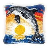 OeyeO Kit de gancho, diseño de delfín, funda de cojín para sofá, 40,6 x 40,6 cm, diseño de animales, pintura de punto de cruz, ardilla