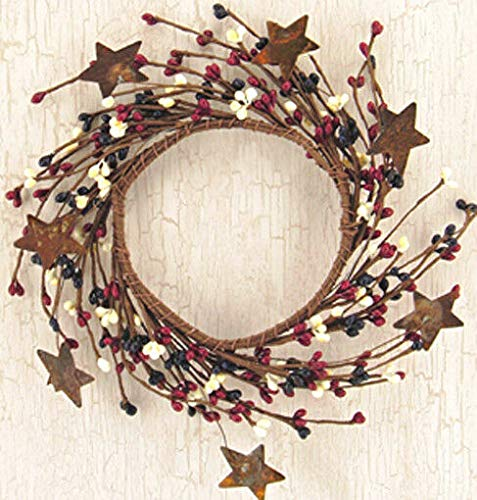 NIMBOD - Accessories Floral Décor Supplies for Candle Ring/Wreath 4' Pip Berry Rusty Tin Stars Country Mix Navy Burgundy Ivory for Christmas Decorations, Wall, Door, Home Décor