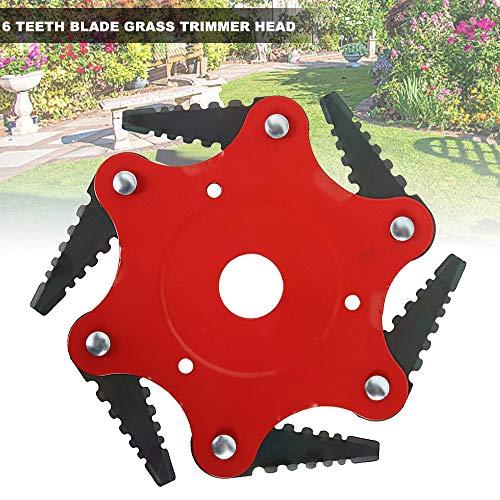 You's Auto 1PCS Cabezal del Cortacésped Disco Desbrozadora de 6 Dientes Cuchilla Cuchillas para Accesorios prácticos para Máquinas Herbicidas Corte de 360 ° sin ángulo Muerto (Rojo)
