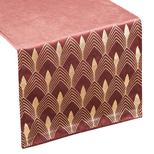 Eurofirany tafelkleed, tafelloper, fluweel, geometrisch patroon, tafeldecoratie, tafelkleed, tafelkleed, fluweel, elegant, 1 stuks, bordeaux, 40 x 140 cm