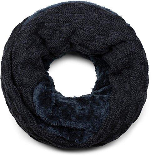 styleBREAKER warmer Feinstrick Loop Schal mit Flecht Muster und sehr weichem Fleece Innenfutter, Schlauchschal, Unisex 01018150, Farbe:Midnight-Blue/Dunkelblau