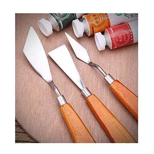 3 Piezas espátulas mixtas de Acero Inoxidable, para Artistas, Pintura, Aceite, Herramientas, Pintura, Mango de madera Accesorios para Pintura Al óleo, Juego de Cuchillos Pintura