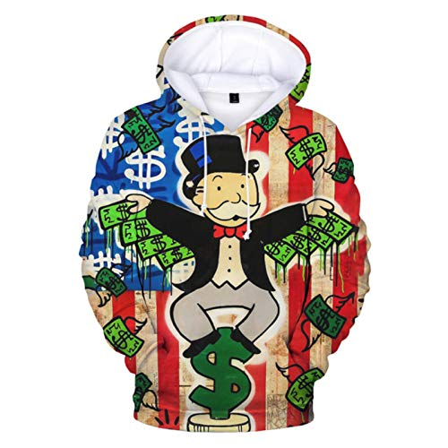TMXK Hot 2021 Street Painter ALEC 3D Printed Monopoly Hoodies Games Monopoly Graphic Hoodies