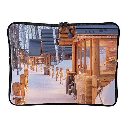 AmaUncle Sleeve Tablet Protective Bag Furano, Japan Winter Cabins at Twilight Custom Tablet Sleeve Bag Case SW30263 17 inch/17.3 inch