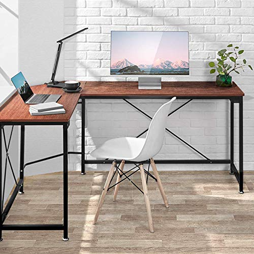 AOOU Computer Desk, PC Laptop Office Desk, Modern L-Shaped Corner Desk for Home Office Desk with Industrial Style Design and MDF Board, 64.9x49x29.7 inches, Walnut