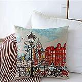 Cojín decorativo Fundas cuadradas Color Casa flotante Turismo Reflexión Dibujo a mano Vista de la ciudad Ámsterdam Monumentos Parques Calle Cojín de lino para exteriores Funda de almohada para sofá ca