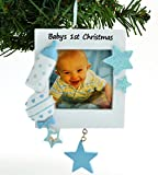 Grantwood Technology Personalized Christmas Ornament Blue Baby's 1ST Christmas Picture Frame, Baby's First Christmas Picture Frame Ornament, Baby BOY Picture Frame Ornament, Personalized by Santa