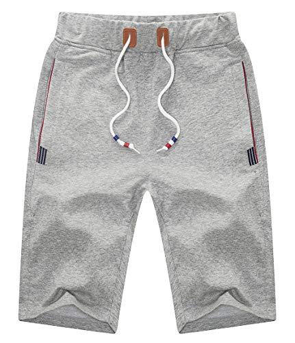 YSENTO Mens Shorts Casual Drawstring Zipper Pockets Elastic Waist Light Grey Size 36