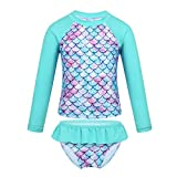 MSemis Enfant Fille 2 Pieces Maillot de Bain Anti UV Ete Costume Sirène Short de Bain T-Shirt Plage Manches Longue Tankini...