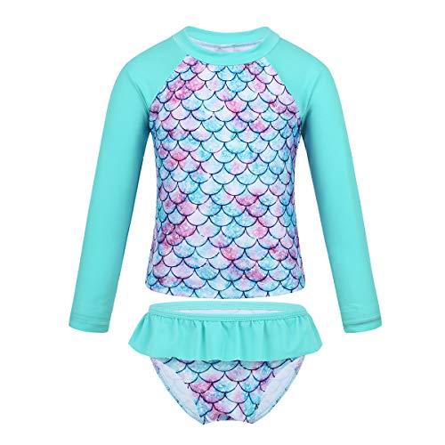 iEFiEL Little Baby Girls Long Sleeve Zip Sunsuit UPF 50+ One Piece Rash Guard Swimsuit Cyan Fish Scales 6