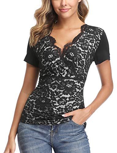 Wudodo Mujer Camiseta de Tirantes con Cuello en V Camisas Blusas Encaje