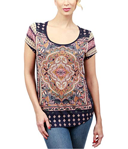 Lucky Brand Women's Persian Carpet Tee, Navy Multi, S