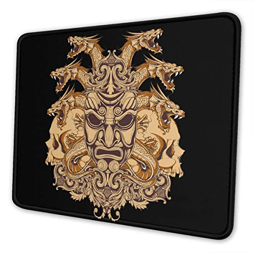 Gaming Mouse Pad - Masks of Samurai Rectangle Rubber Mousepad - 10 X 12 Inch X 0.12''(3mm Thick) Mouse Mat for Gift Support Wired Wireless Or Bluetooth Mouse