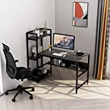Computer Desk with 4 Storage Shelves - Writing Study Desk with Bookshelf and Tower Shelf for Home Office Sturdy Student Desk for Small Spaces Modern Simple Wood Desk with Steel Frame (Black)