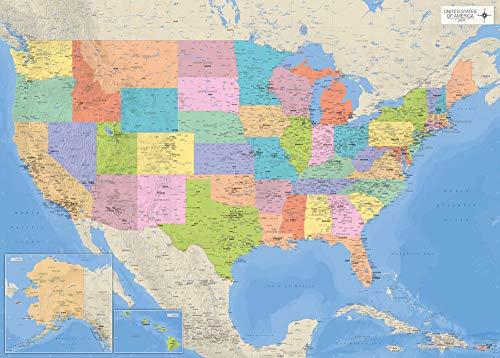Landkarten Giant XXL Poster – USA-Karte mit Allen Staaten – Bildungsposter Maßstab 1:3,325 Mio. - 140x100 cm English Version