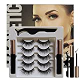 ROLANGINA Magnetic Eyeliner and Lashes Magnetic Eyelashes Kit with Tweezers.No Glue Reusable Silk False Lashes, Easier To Use Than Traditional eyelashes magnetic eyeliner. (SIZE:011)