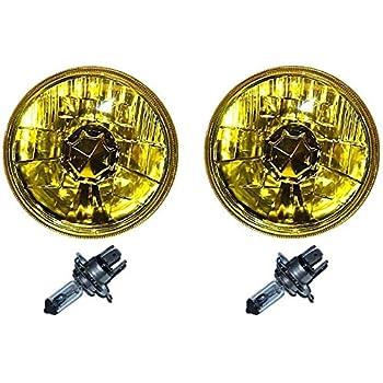 """OCTANE LIGHTING 5-3/4"""" Halogen Amber Yellow Glass Headlight Fog Light H4 60W Light Bulbs Pair"""