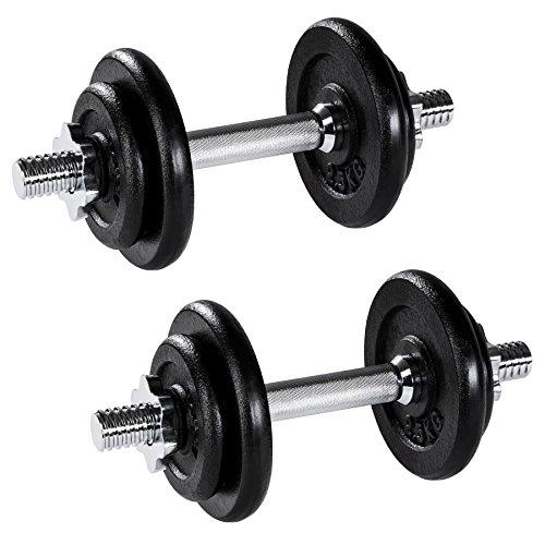 TecTake Set Mancuernas con Pesas Halteras Fitness Acero Hierro Musculación Gimnasio -...