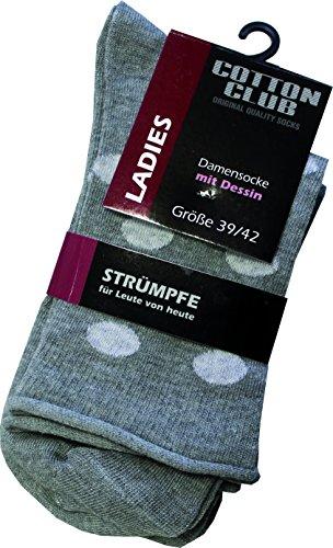 Cotton Club Damen-Socken, gemustert Punkte im 2er Pack (39/42, graumelange/hellgrau)