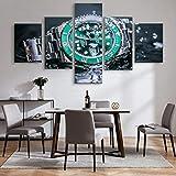 HD Print 5 Paneles Pintura de Lienzo Rolex Watch Green Water Ghost Submariner Series Cartel mecánico automático Cartel de la decoración del hogar-3