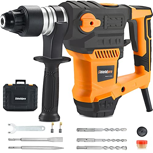 SHIELDPRO 1-1/4 Inch SDS-Plus 13 Amp Rotary Hammer Drill Heavy Duty, Safety Clutch 3 Functions with Vibration Control,Including Grease, Flat Chisels, Point Chisels and 3 Drill Bits