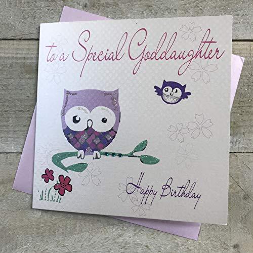 Witte katoenen kaarten naar een speciale peetdochter gelukkig, handgemaakte verjaardagskaart (Owl)